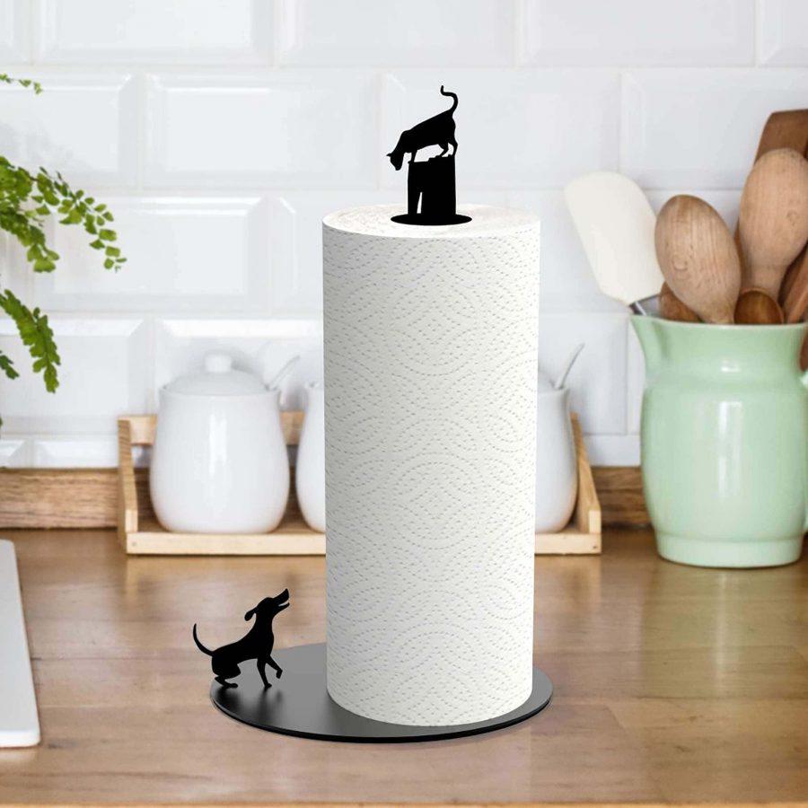 החתול והכלב - מעמד לנייר סופג - שחור