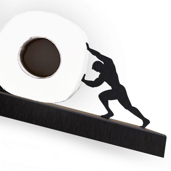 סיזיפוס - מדף אלכסוני לאחסון גלילי נייר טואלט - שחור/אפור