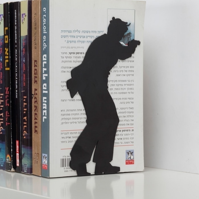 """By the book"" Bookend - for action books"