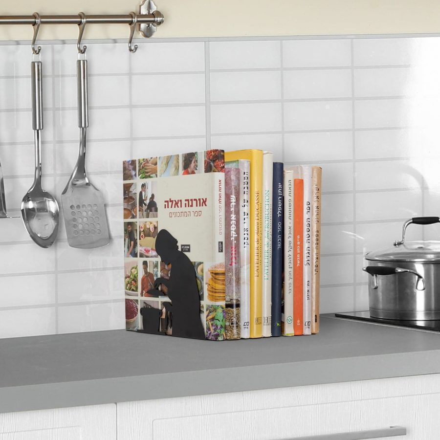 """""""By the book"""" Bookend - for cookery books"""