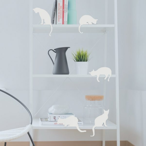 Cat's Meow Set of 5 Adorable cats' silhouettes for decoration by Artori design