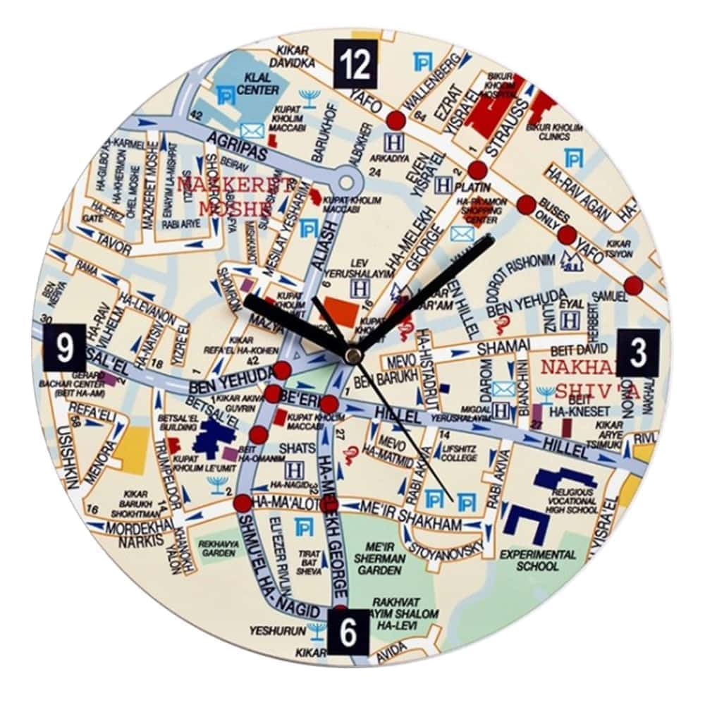 Center of Jeruslaem Map  Wall Clock - English